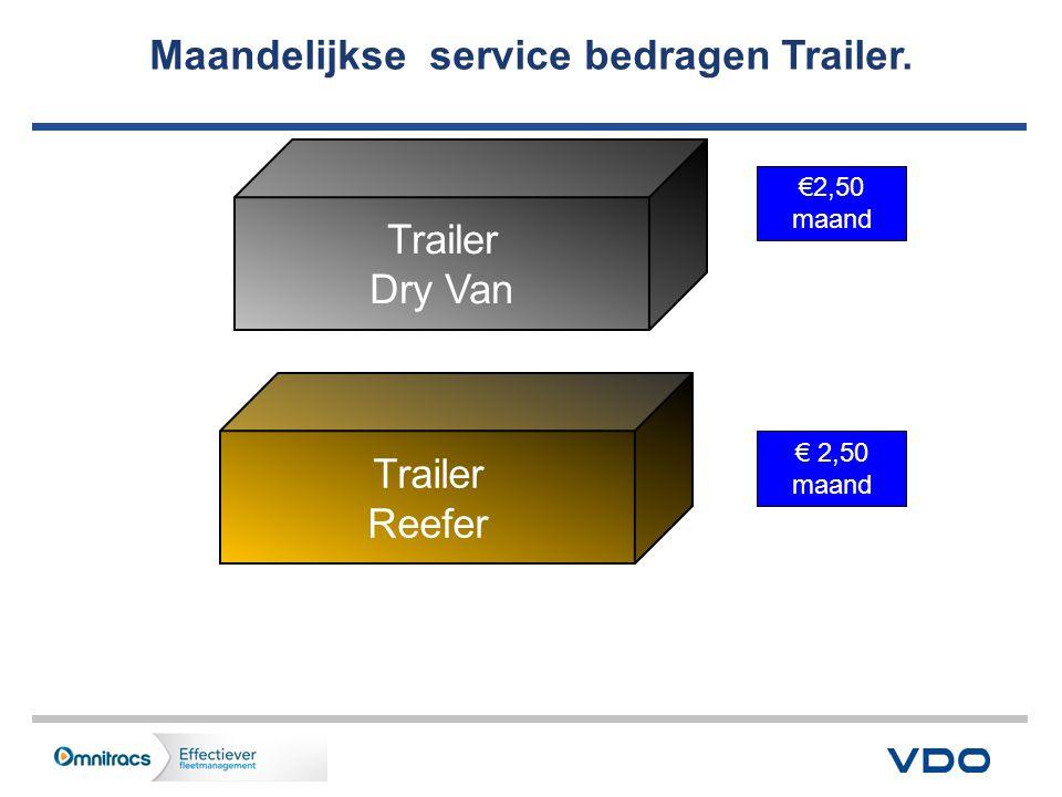Maandelijkse service bedragen Trailer. Trailer Dry Van Trailer Reefer € 2,50 maand €2,50 maand