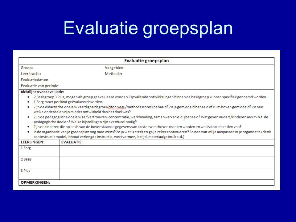 Evaluatie groepsplan