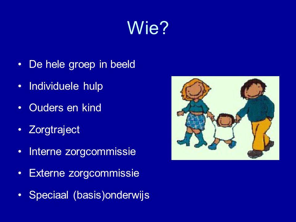 Wie? •De hele groep in beeld •Individuele hulp •Ouders en kind •Zorgtraject •Interne zorgcommissie •Externe zorgcommissie •Speciaal (basis)onderwijs -
