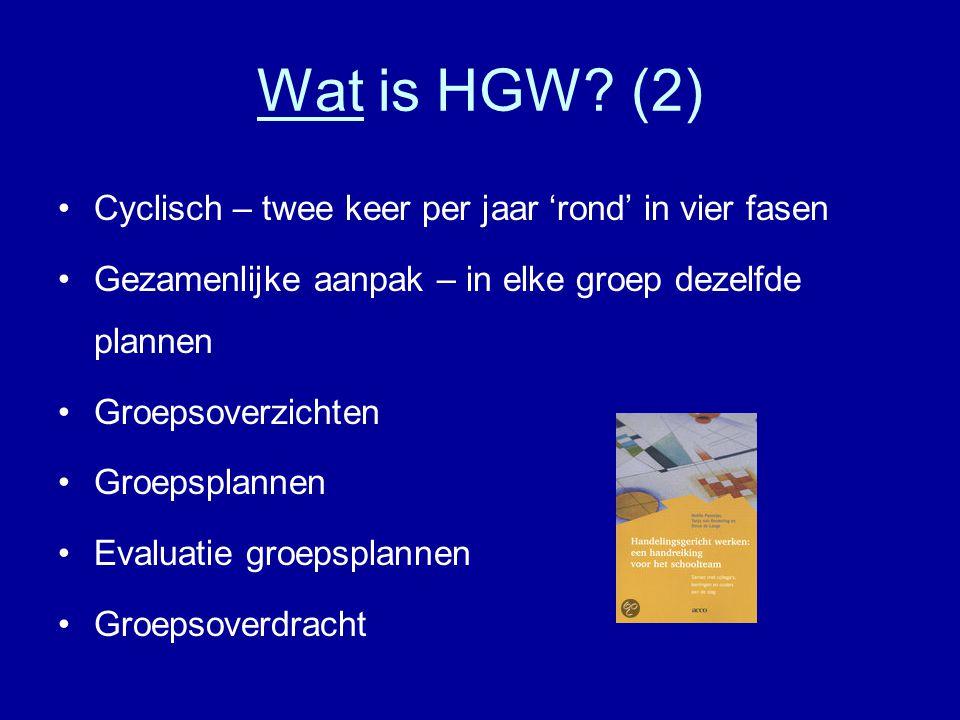 Wat is HGW? (2) •Cyclisch – twee keer per jaar 'rond' in vier fasen •Gezamenlijke aanpak – in elke groep dezelfde plannen •Groepsoverzichten •Groepspl