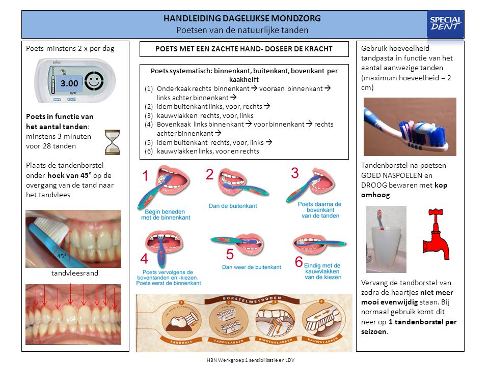 Gebruik hoeveelheid tandpasta in functie van het aantal aanwezige tanden (maximum hoeveelheid = 2 cm) Tandenborstel na poetsen GOED NASPOELEN en DROOG bewaren met kop omhoog Vervang de tandborstel van zodra de haartjes niet meer mooi evenwijdig staan.