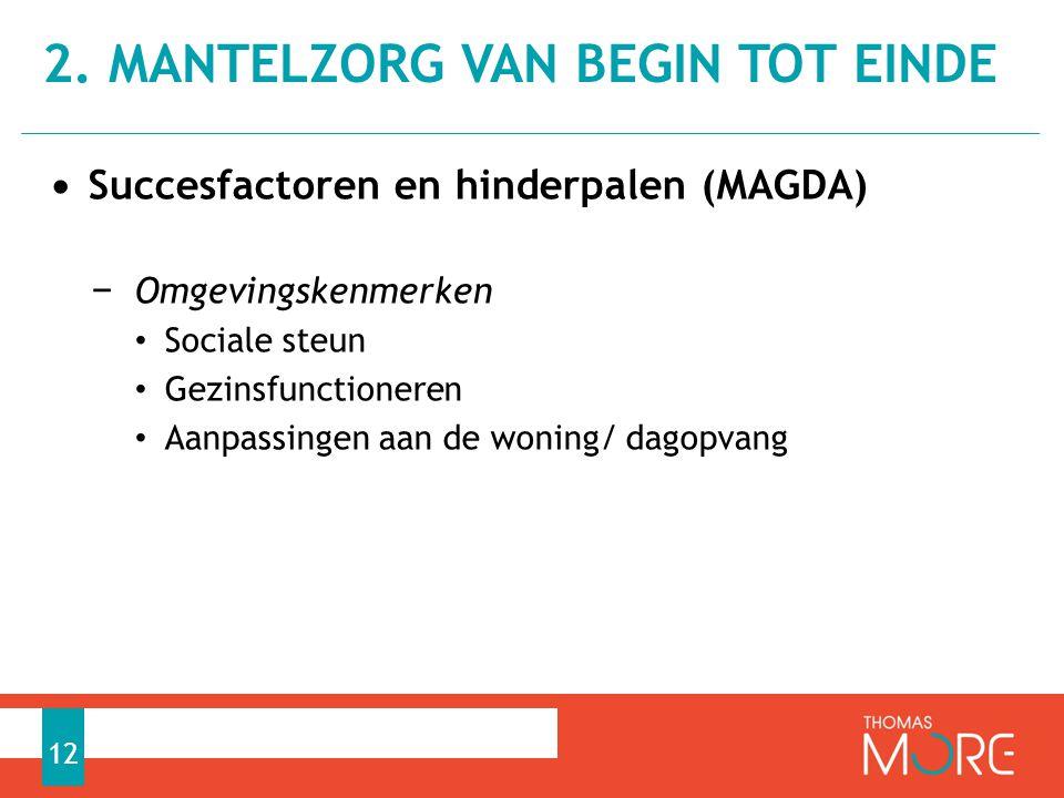 • Succesfactoren en hinderpalen (MAGDA) − Omgevingskenmerken • Sociale steun • Gezinsfunctioneren • Aanpassingen aan de woning/ dagopvang 2. MANTELZOR