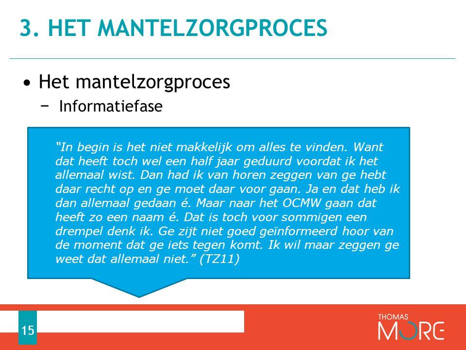 """• Het mantelzorgproces − Informatiefase 3. HET MANTELZORGPROCES 15 """"In begin is het niet makkelijk om alles te vinden. Want dat heeft toch wel een hal"""