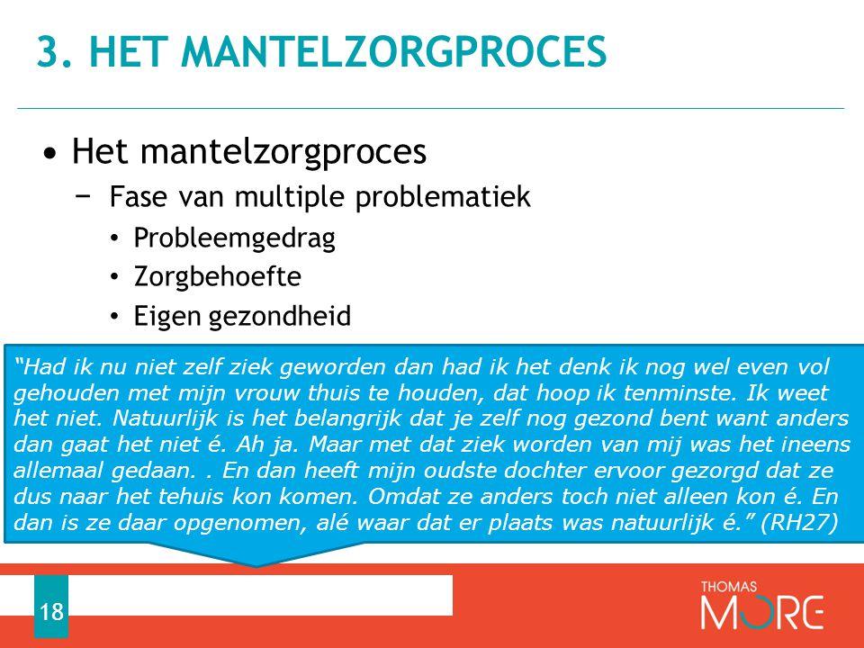 • Het mantelzorgproces − Fase van multiple problematiek • Probleemgedrag • Zorgbehoefte • Eigen gezondheid 3.