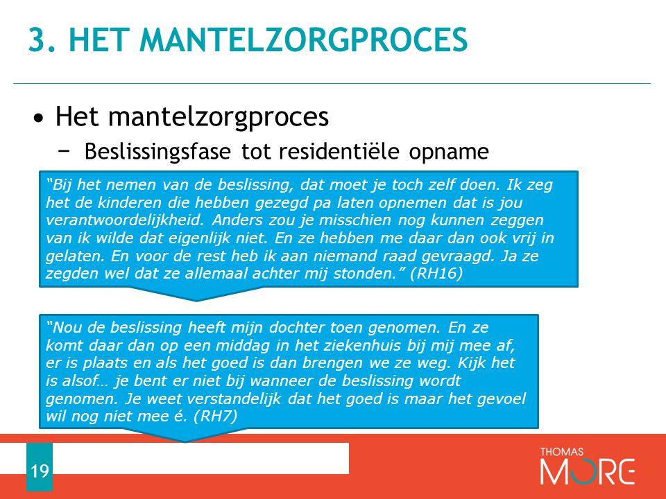 """• Het mantelzorgproces − Beslissingsfase tot residentiële opname 3. HET MANTELZORGPROCES 19 """"Bij het nemen van de beslissing, dat moet je toch zelf do"""