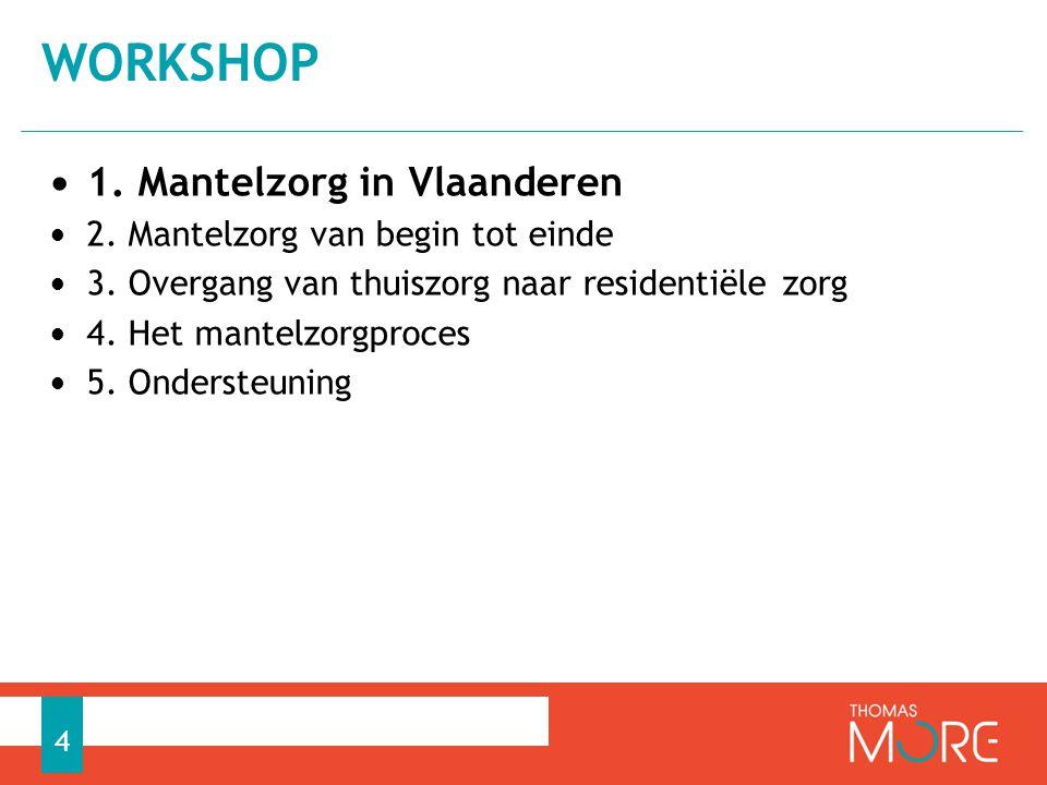 • 1. Mantelzorg in Vlaanderen • 2. Mantelzorg van begin tot einde • 3. Overgang van thuiszorg naar residentiële zorg • 4. Het mantelzorgproces • 5. On