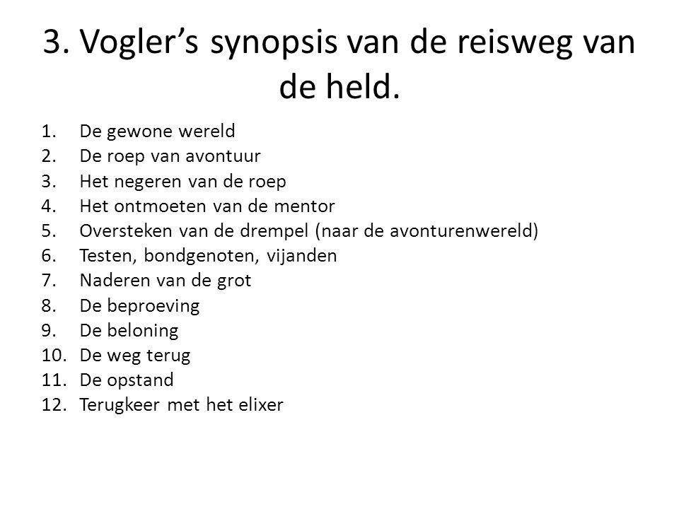 3. Vogler's synopsis van de reisweg van de held. 1.De gewone wereld 2.De roep van avontuur 3.Het negeren van de roep 4.Het ontmoeten van de mentor 5.O
