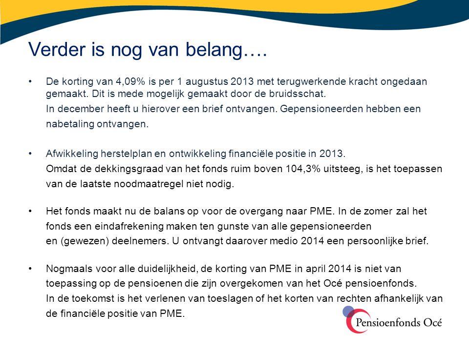 Verder is nog van belang…. •De korting van 4,09% is per 1 augustus 2013 met terugwerkende kracht ongedaan gemaakt. Dit is mede mogelijk gemaakt door d