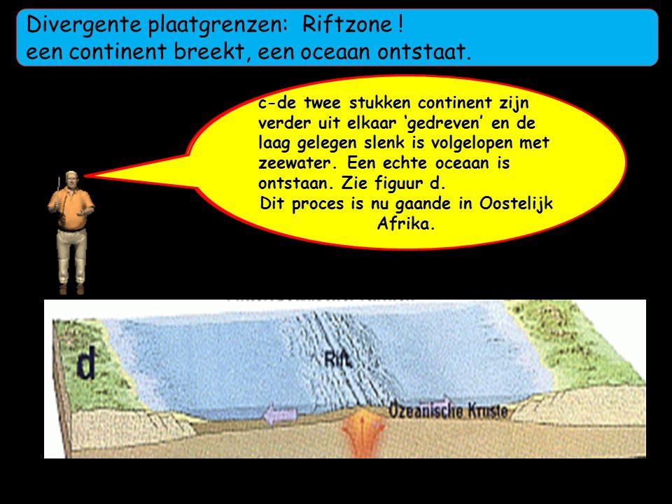 a-Horizontale convectiestromen rekken de continentale korst op. De korst wordt dunner. Opstijgend magma drukt de korst omhoog en er ontstaan barsten b