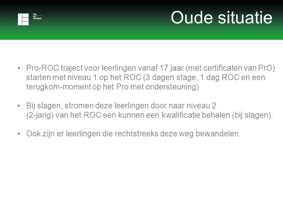 •Pro-ROC traject voor leerlingen vanaf 17 jaar (met certificaten van PrO) starten met niveau 1 op het ROC (3 dagen stage, 1 dag ROC en een terugkom-moment op het Pro met ondersteuning) •Bij slagen, stromen deze leerlingen door naar niveau 2 (2-jarig) van het ROC een kunnen een kwalificatie behalen (bij slagen).