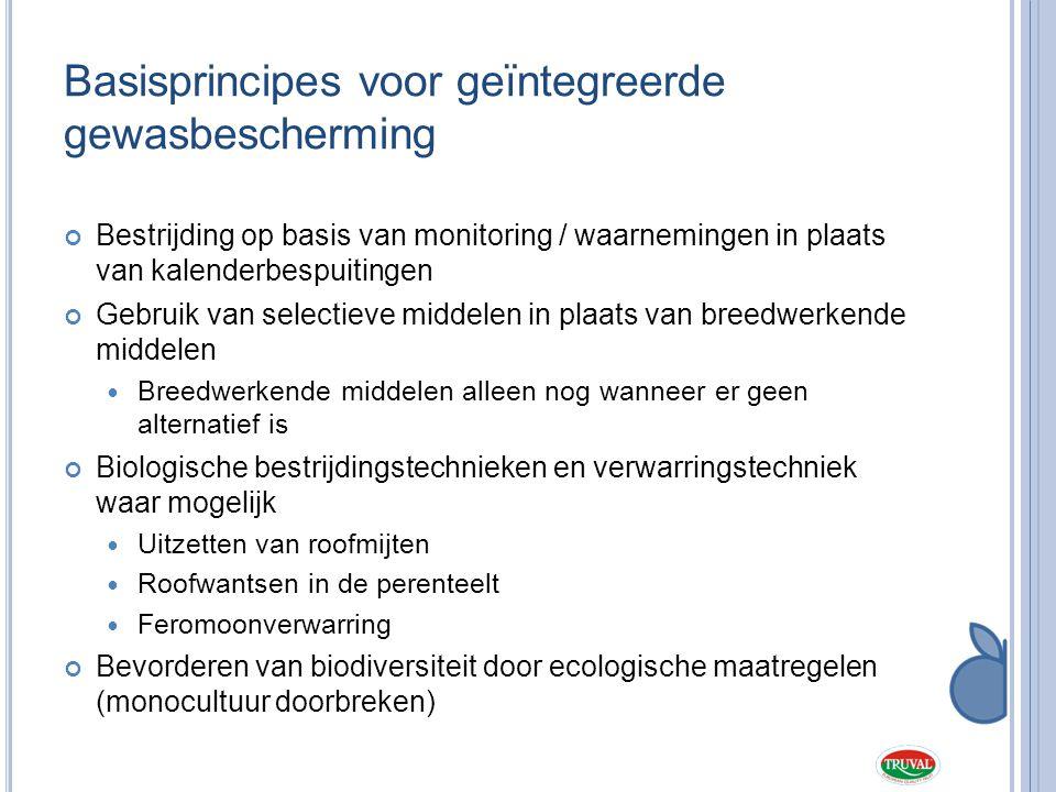 Basisprincipes voor geïntegreerde gewasbescherming Bestrijding op basis van monitoring / waarnemingen in plaats van kalenderbespuitingen Gebruik van s