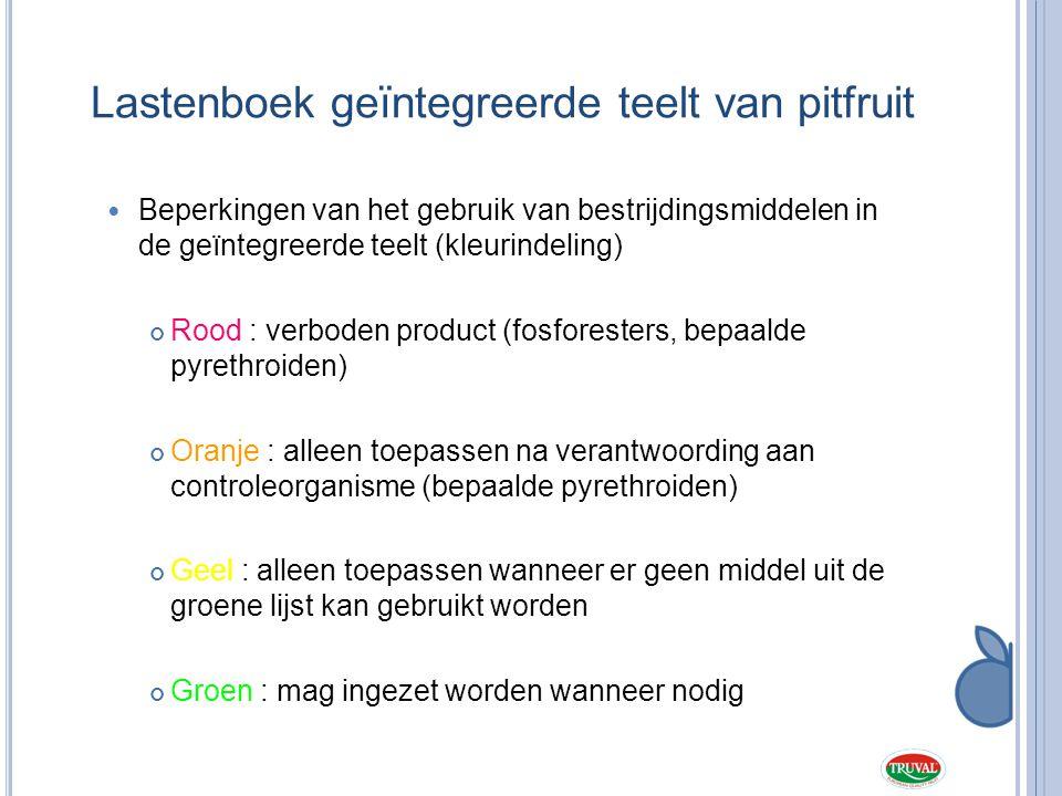 Lastenboek geïntegreerde teelt van pitfruit  Beperkingen van het gebruik van bestrijdingsmiddelen in de geïntegreerde teelt (kleurindeling) Rood : ve
