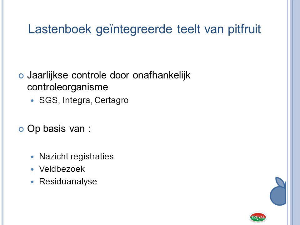 Lastenboek geïntegreerde teelt van pitfruit Jaarlijkse controle door onafhankelijk controleorganisme  SGS, Integra, Certagro Op basis van :  Nazicht