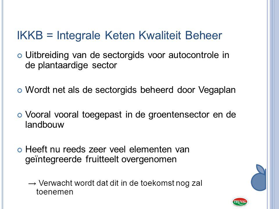 IKKB = Integrale Keten Kwaliteit Beheer Uitbreiding van de sectorgids voor autocontrole in de plantaardige sector Wordt net als de sectorgids beheerd