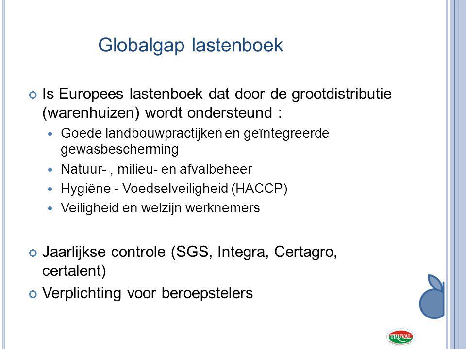 Globalgap lastenboek Is Europees lastenboek dat door de grootdistributie (warenhuizen) wordt ondersteund :  Goede landbouwpractijken en geïntegreerde