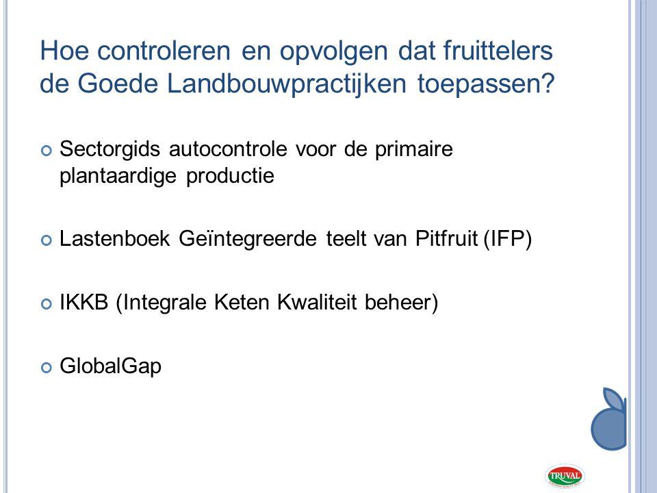 Globalgap lastenboek Is Europees lastenboek dat door de grootdistributie (warenhuizen) wordt ondersteund :  Goede landbouwpractijken en geïntegreerde gewasbescherming  Natuur-, milieu- en afvalbeheer  Hygiëne - Voedselveiligheid (HACCP)  Veiligheid en welzijn werknemers Jaarlijkse controle (SGS, Integra, Certagro, certalent) Verplichting voor beroepstelers