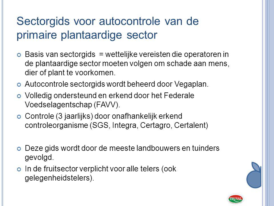 Sectorgids voor autocontrole van de primaire plantaardige sector Basis van sectorgids = wettelijke vereisten die operatoren in de plantaardige sector