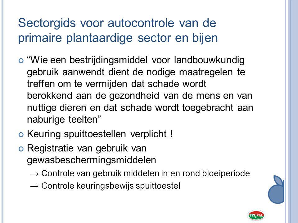 """Sectorgids voor autocontrole van de primaire plantaardige sector en bijen """"Wie een bestrijdingsmiddel voor landbouwkundig gebruik aanwendt dient de no"""