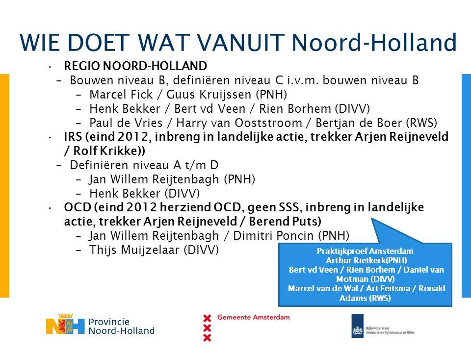 WIE DOET WAT VANUIT Noord-Holland •REGIO NOORD-HOLLAND – Bouwen niveau B, definiëren niveau C i.v.m. bouwen niveau B – Marcel Fick / Guus Kruijssen (P