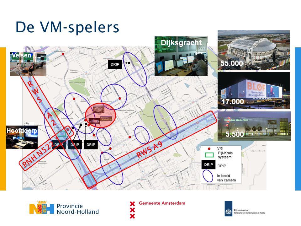 55.000 17.000 5.500 De VM-spelers Dijksgracht PNH N522 Hoofddorp RWS A9 RWS A2 RWS A2 Velsen