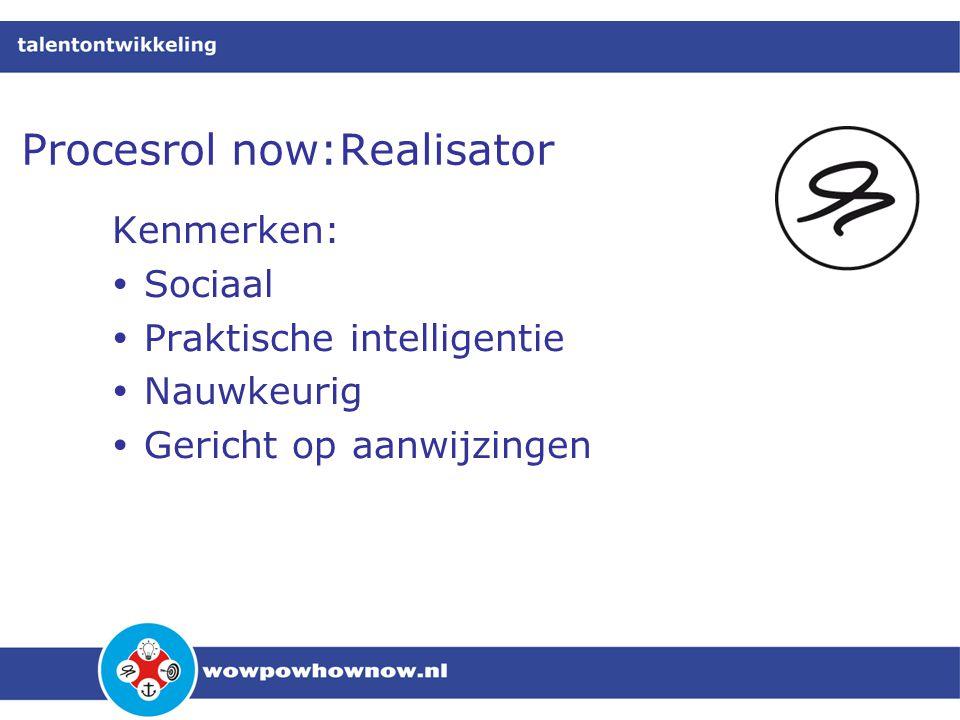Procesrol now:Realisator Kenmerken:  Sociaal  Praktische intelligentie  Nauwkeurig  Gericht op aanwijzingen