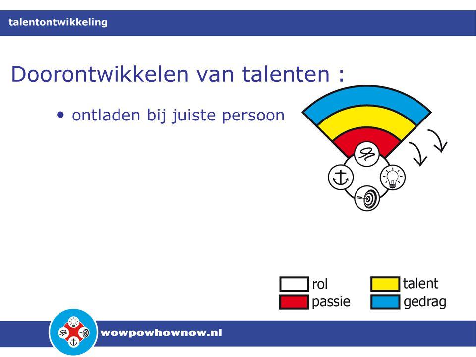 Doorontwikkelen van talenten : • ontladen bij juiste persoon