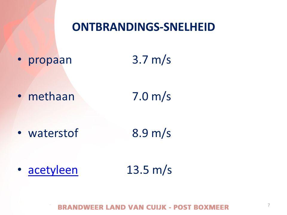 ONTBRANDINGS-SNELHEID • propaan3.7 m/s • methaan7.0 m/s • waterstof8.9 m/s • acetyleen 13.5 m/s acetyleen 7