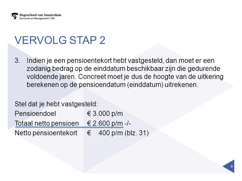 VERVOLG STAP 2 •Wanneer er al bestaande lijfrenten zijn, kijk je naar:  wat levert de lijfrente op.