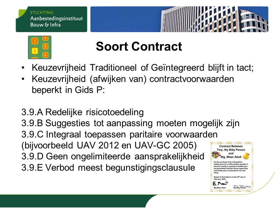 Soort Contract •Keuzevrijheid Traditioneel of Geïntegreerd blijft in tact; •Keuzevrijheid (afwijken van) contractvoorwaarden beperkt in Gids P: 3.9.A