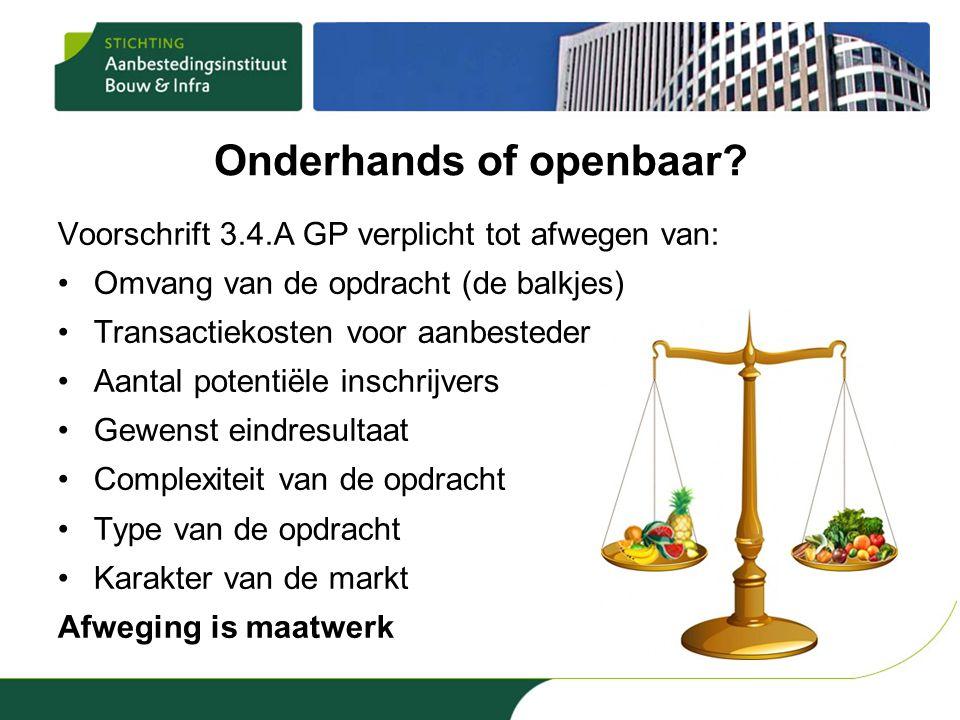 Onderhands of openbaar? Voorschrift 3.4.A GP verplicht tot afwegen van: •Omvang van de opdracht (de balkjes) •Transactiekosten voor aanbesteder en ins