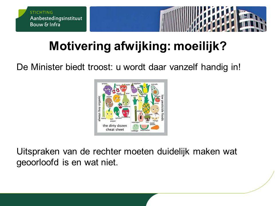 Motivering afwijking: moeilijk.De Minister biedt troost: u wordt daar vanzelf handig in.