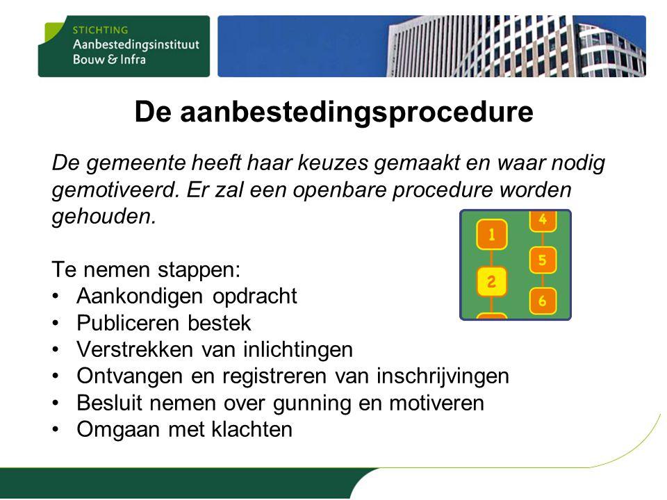 De aanbestedingsprocedure De gemeente heeft haar keuzes gemaakt en waar nodig gemotiveerd. Er zal een openbare procedure worden gehouden. Te nemen sta