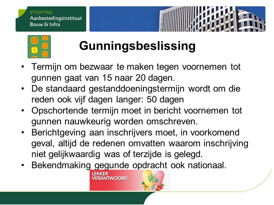 Gunningsbeslissing •Termijn om bezwaar te maken tegen voornemen tot gunnen gaat van 15 naar 20 dagen. •De standaard gestanddoeningstermijn wordt om di