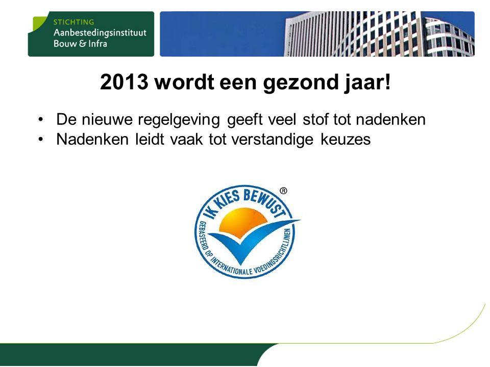 2013 wordt een gezond jaar! •De nieuwe regelgeving geeft veel stof tot nadenken •Nadenken leidt vaak tot verstandige keuzes