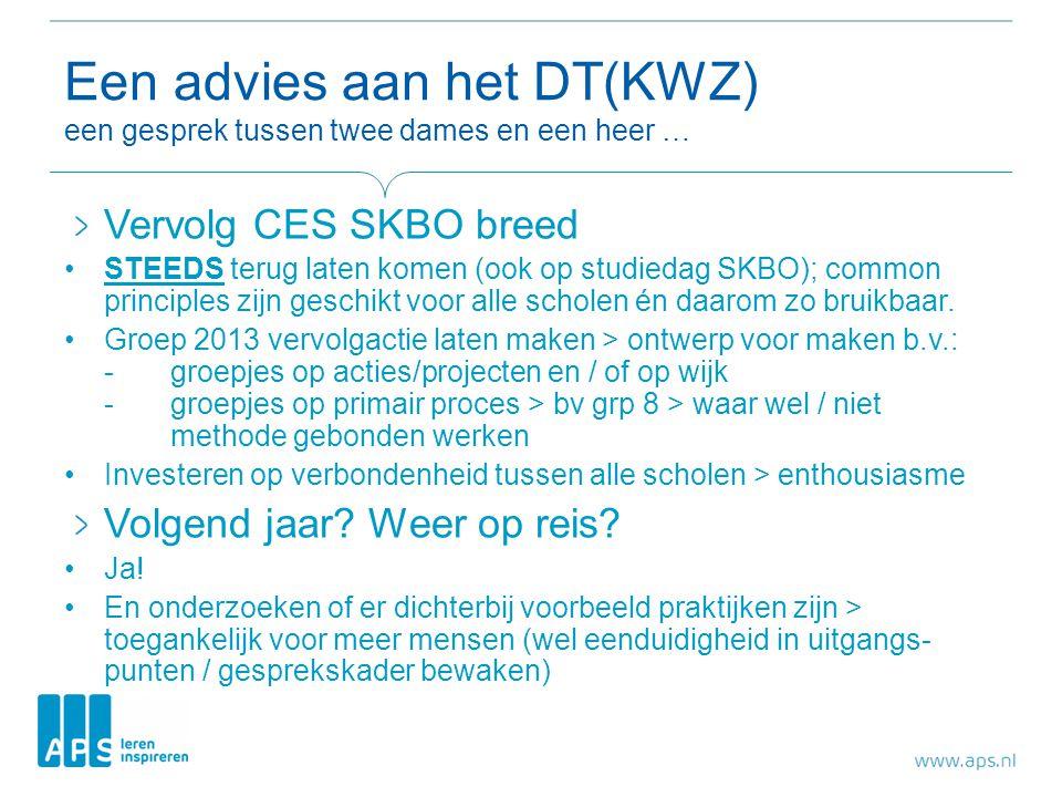 Een advies aan het DT(KWZ) een gesprek tussen twee dames en een heer … Vervolg CES SKBO breed •STEEDS terug laten komen (ook op studiedag SKBO); commo