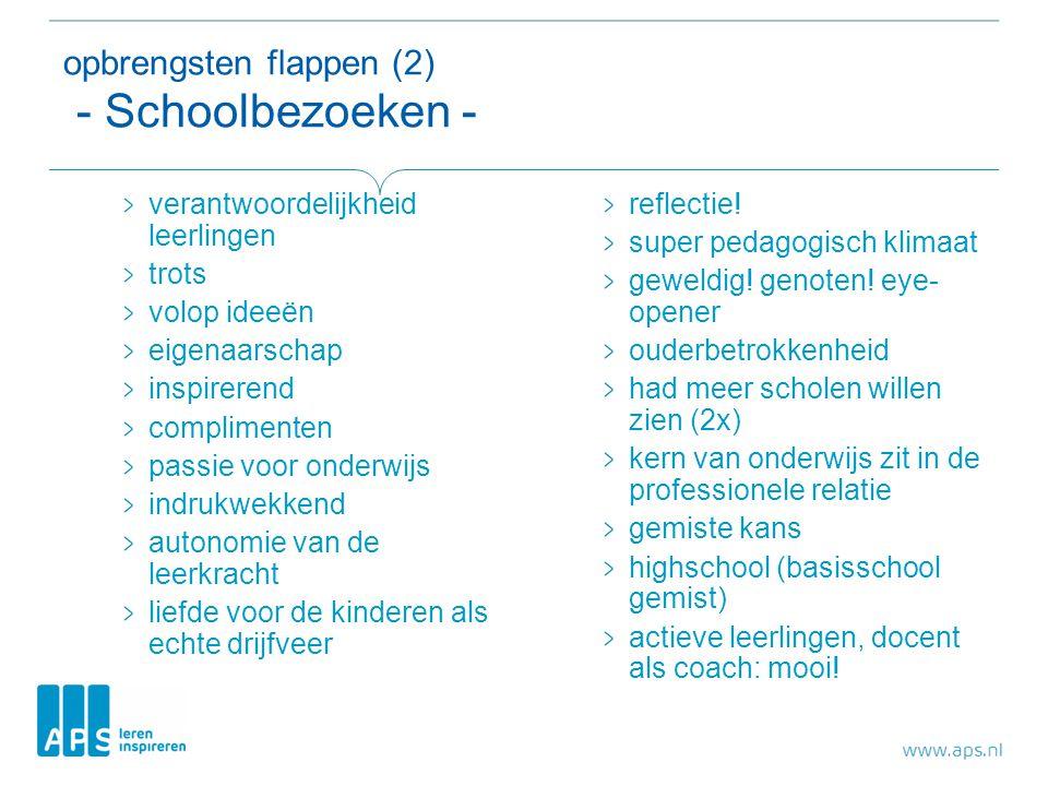 opbrengsten flappen (2) - Schoolbezoeken - verantwoordelijkheid leerlingen trots volop ideeën eigenaarschap inspirerend complimenten passie voor onder