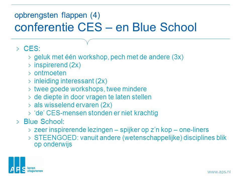 opbrengsten flappen (4) conferentie CES – en Blue School CES: geluk met één workshop, pech met de andere (3x) inspirerend (2x) ontmoeten inleiding int