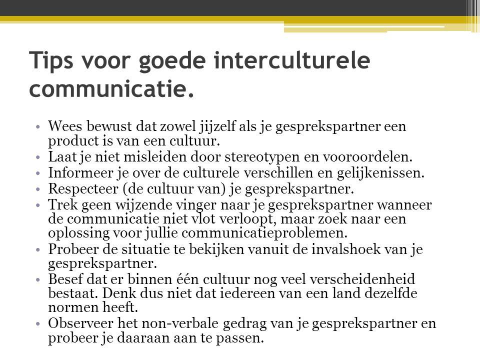 Tips voor goede interculturele communicatie. •Wees bewust dat zowel jijzelf als je gesprekspartner een product is van een cultuur. •Laat je niet misle