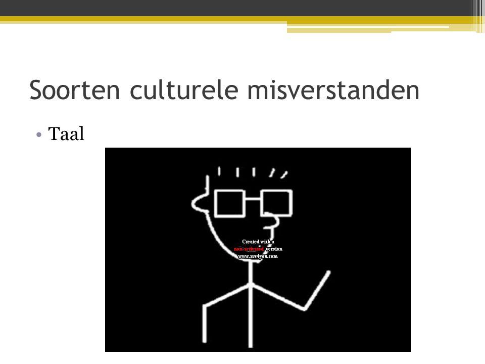Soorten culturele misverstanden •Taal