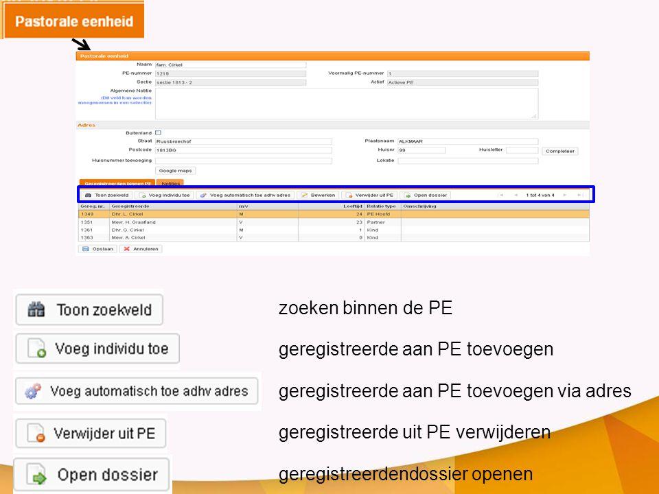 zoeken binnen de PE geregistreerde aan PE toevoegen geregistreerde aan PE toevoegen via adres geregistreerde uit PE verwijderen geregistreerdendossier