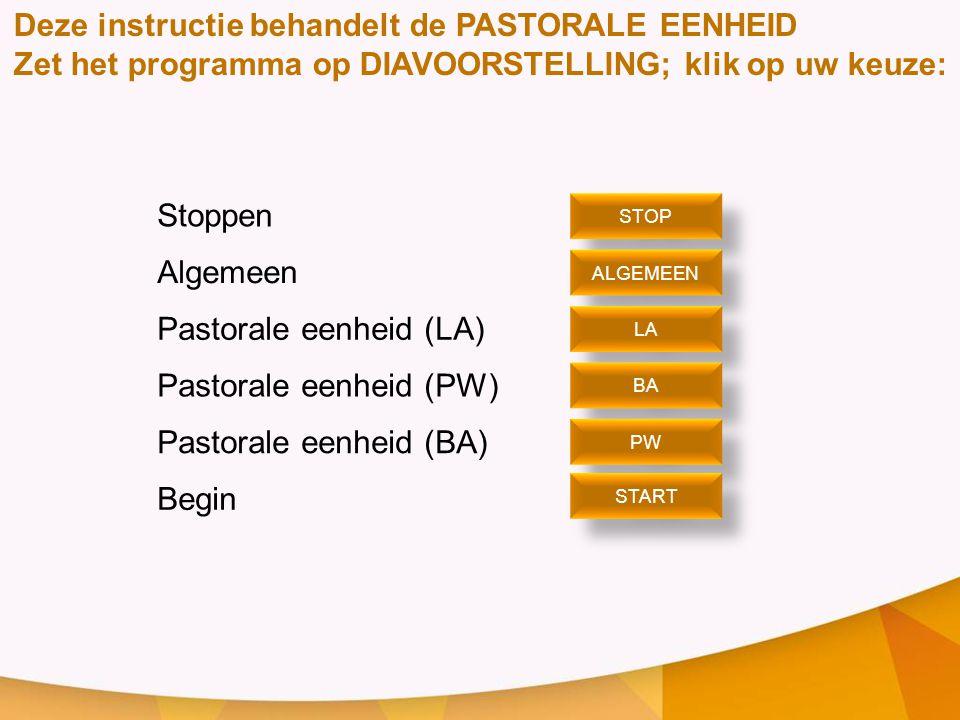 Deze instructie behandelt de PASTORALE EENHEID Zet het programma op DIAVOORSTELLING; klik op uw keuze: Stoppen Algemeen Pastorale eenheid (LA) Pastora
