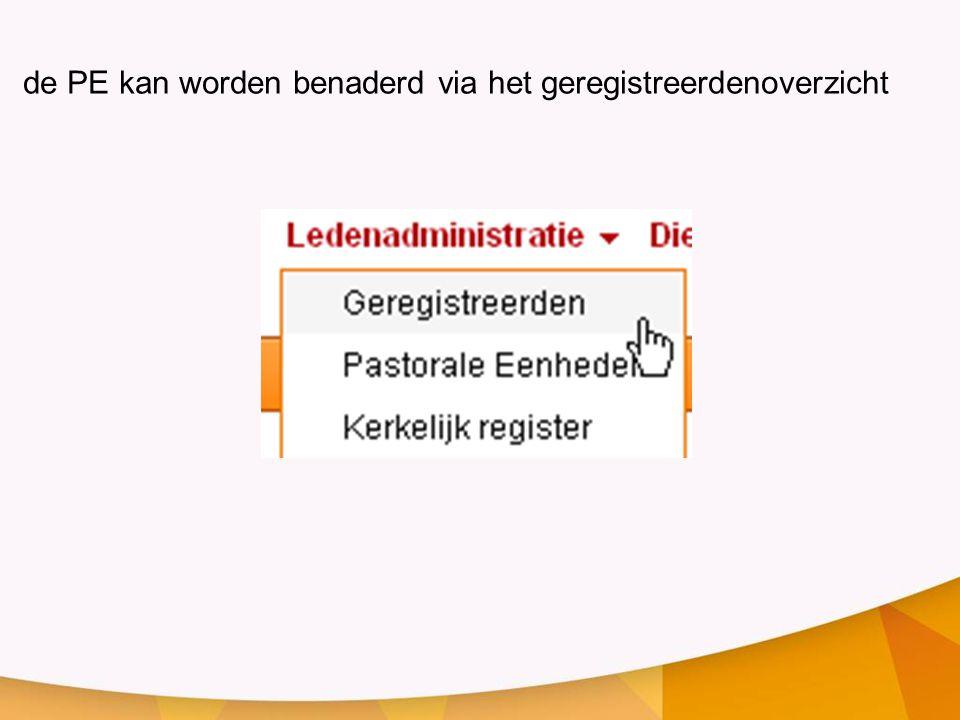 de PE kan worden benaderd via het geregistreerdenoverzicht