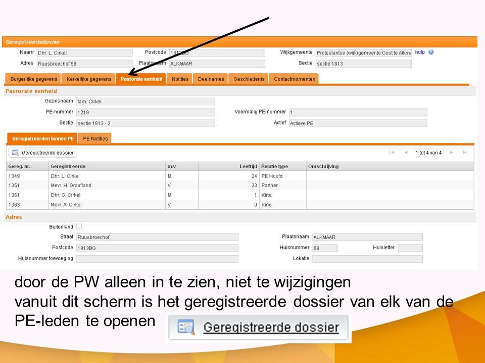 door de PW alleen in te zien, niet te wijzigingen vanuit dit scherm is het geregistreerde dossier van elk van de PE-leden te openen