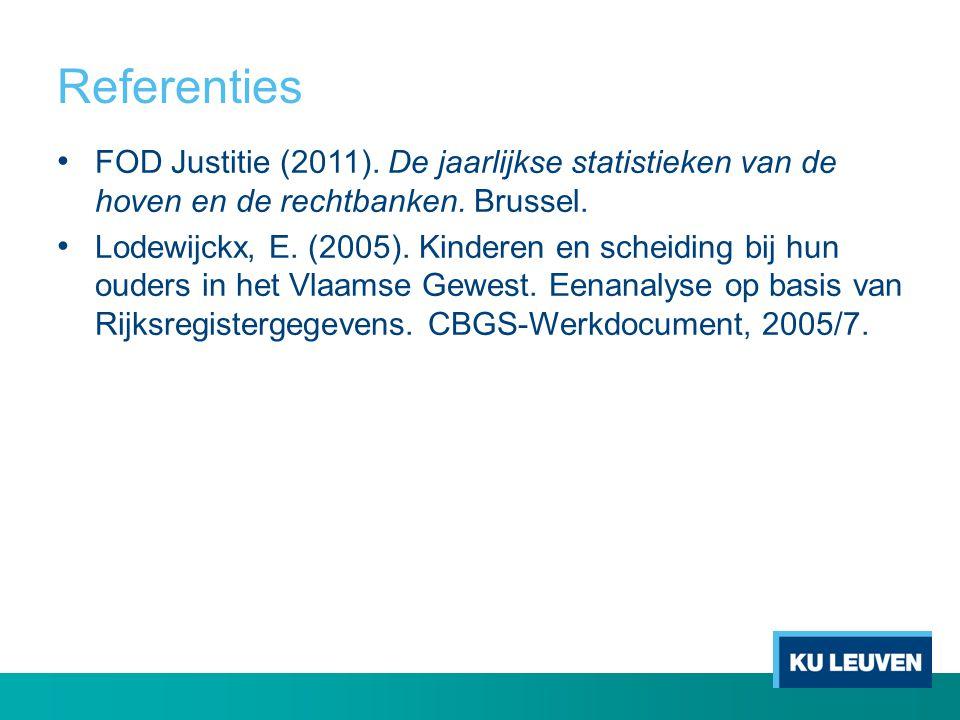Referenties • FOD Justitie (2011). De jaarlijkse statistieken van de hoven en de rechtbanken. Brussel. • Lodewijckx, E. (2005). Kinderen en scheiding