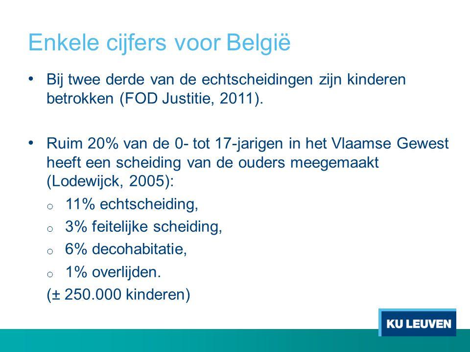 Enkele cijfers voor België • Bij twee derde van de echtscheidingen zijn kinderen betrokken (FOD Justitie, 2011). • Ruim 20% van de 0- tot 17-jarigen i