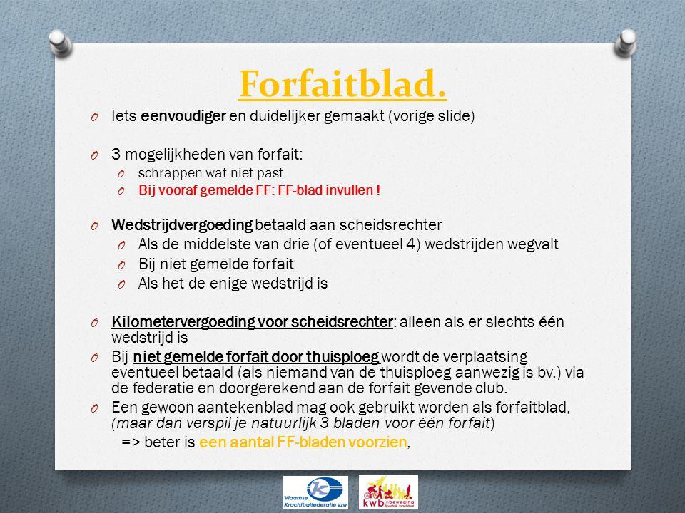 O Iets eenvoudiger en duidelijker gemaakt (vorige slide) O 3 mogelijkheden van forfait: O schrappen wat niet past O Bij vooraf gemelde FF: FF-blad invullen .
