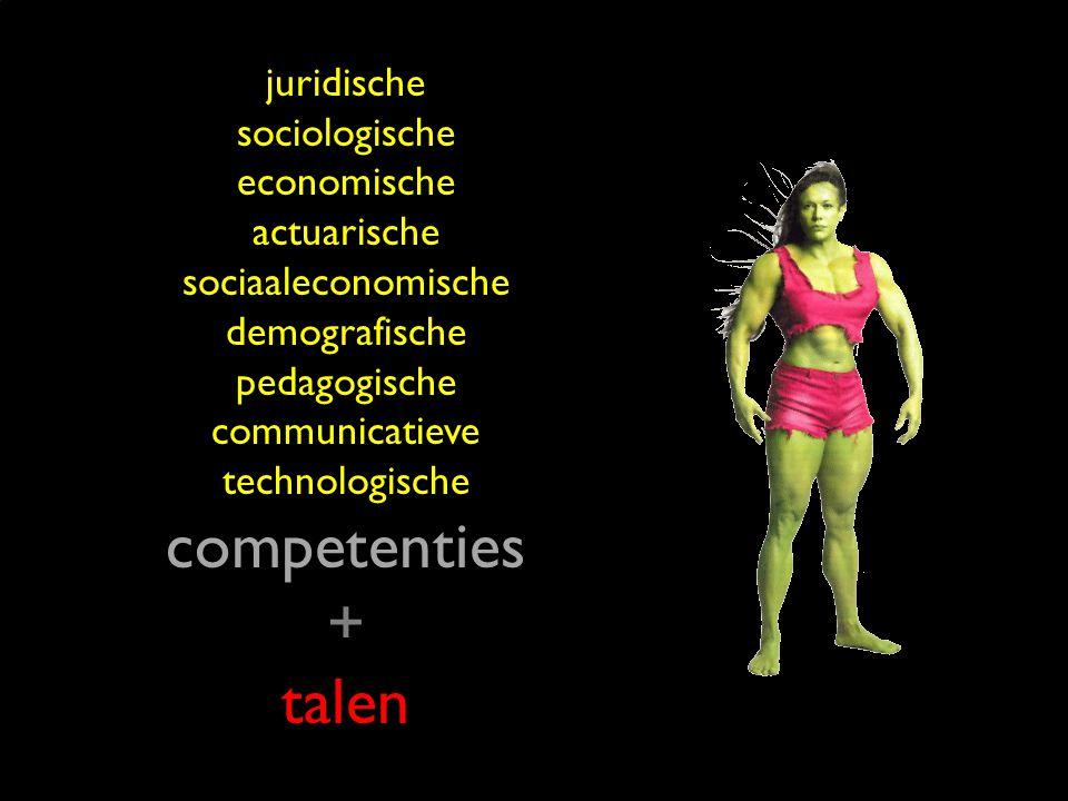 16 juridische sociologische economische actuarische sociaaleconomische demografische pedagogische communicatieve technologische competenties + talen