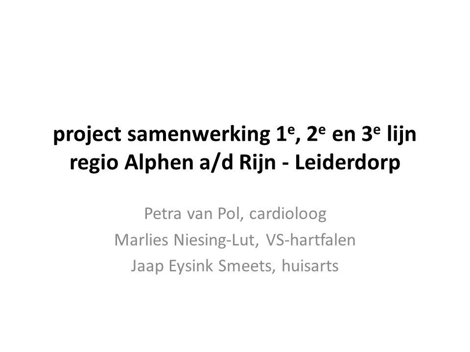 project samenwerking 1 e, 2 e en 3 e lijn regio Alphen a/d Rijn - Leiderdorp Petra van Pol, cardioloog Marlies Niesing-Lut, VS-hartfalen Jaap Eysink S