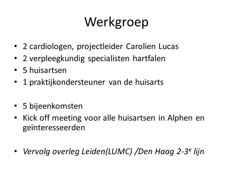 Werkgroep • 2 cardiologen, projectleider Carolien Lucas • 2 verpleegkundig specialisten hartfalen • 5 huisartsen • 1 praktijkondersteuner van de huisa