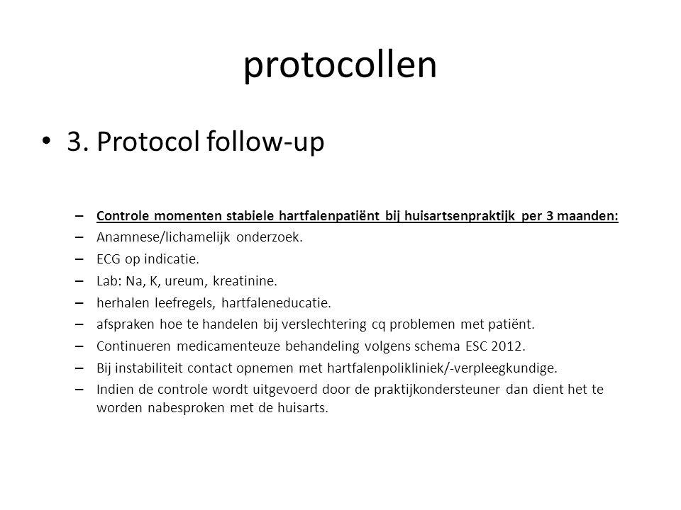 protocollen • 3. Protocol follow-up – Controle momenten stabiele hartfalenpatiënt bij huisartsenpraktijk per 3 maanden: – Anamnese/lichamelijk onderzo